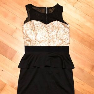 Sequined Peplum Party Dress